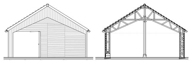 Vue principale, système constructif des portiques, poteaux supplémentaires pour reprise partielle de charges